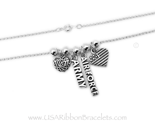 "Army Mom necklace comes with a Army charm, a MOM charm and a USA Heart Flag charm. Shown on a 18"" - .925 sterling silver ROLO chain. They added an AIR FORCE charm to their order."